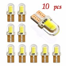 10PCS T10 W5W LED car interior light COB silicone auto Signal lamp 12V 194 501 Side Wedge parking bulb for lada car styling 8SMD(China)