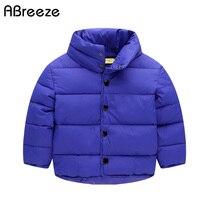 ילדי החורף חדשים חולצות בטנת כותנה מזדמן בגדי ילדים למטה & אפור כחול צבע מעיילי בני בנות 2-8Y חם מעילי בני
