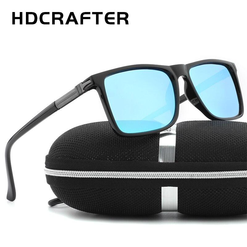 HDCRAFTER Brand Designer Classic Aluminum magnesium polarized driving Sunglasses mens Vintage Square Mirror Sunglasses