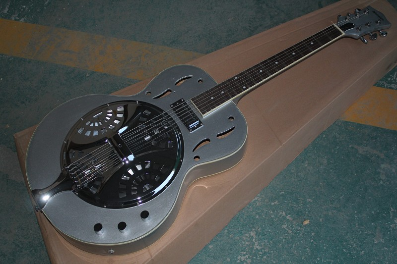 Wholesale High Quality maestro Dobro Resonator Silver grey Electric Guitar In stock with hardcase