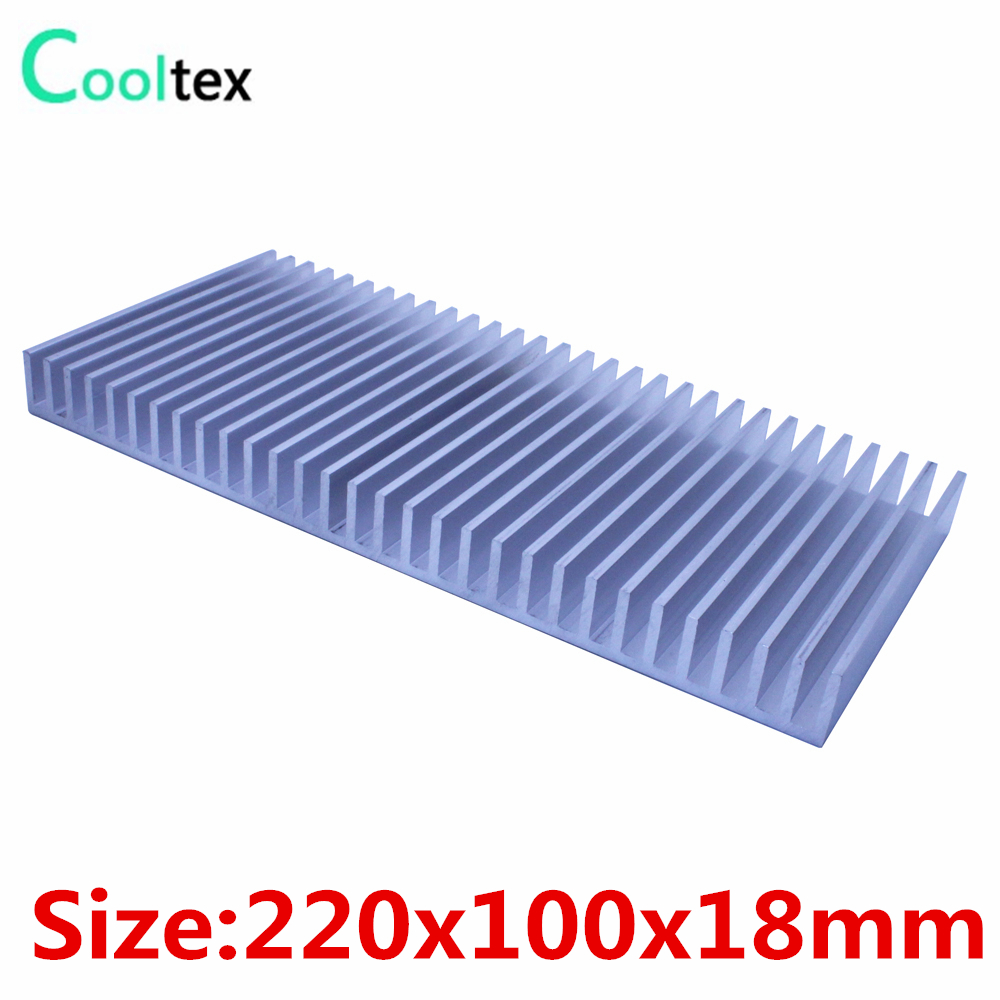 High power 220x100x18mm  Aluminum heatsink radiator for LED Electronic integrated circuit Power Amplifier cooling cooler 5pcs lot pure copper broken groove memory mos radiator fin raspberry pi chip notebook radiator 14 14 4 0mm copper heatsink
