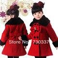 Бесплатная доставка новые зима интимной пальто бантом двубортные пальто из девушек