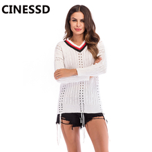 CINESSD Multicolor V Neck Thin Sweaters Pullovers White Hollow Long Sleeves Women Tunic Tops  Casual Sweaters Autumn Tee Shirts white v neck cold shoulder long sleeves sweaters