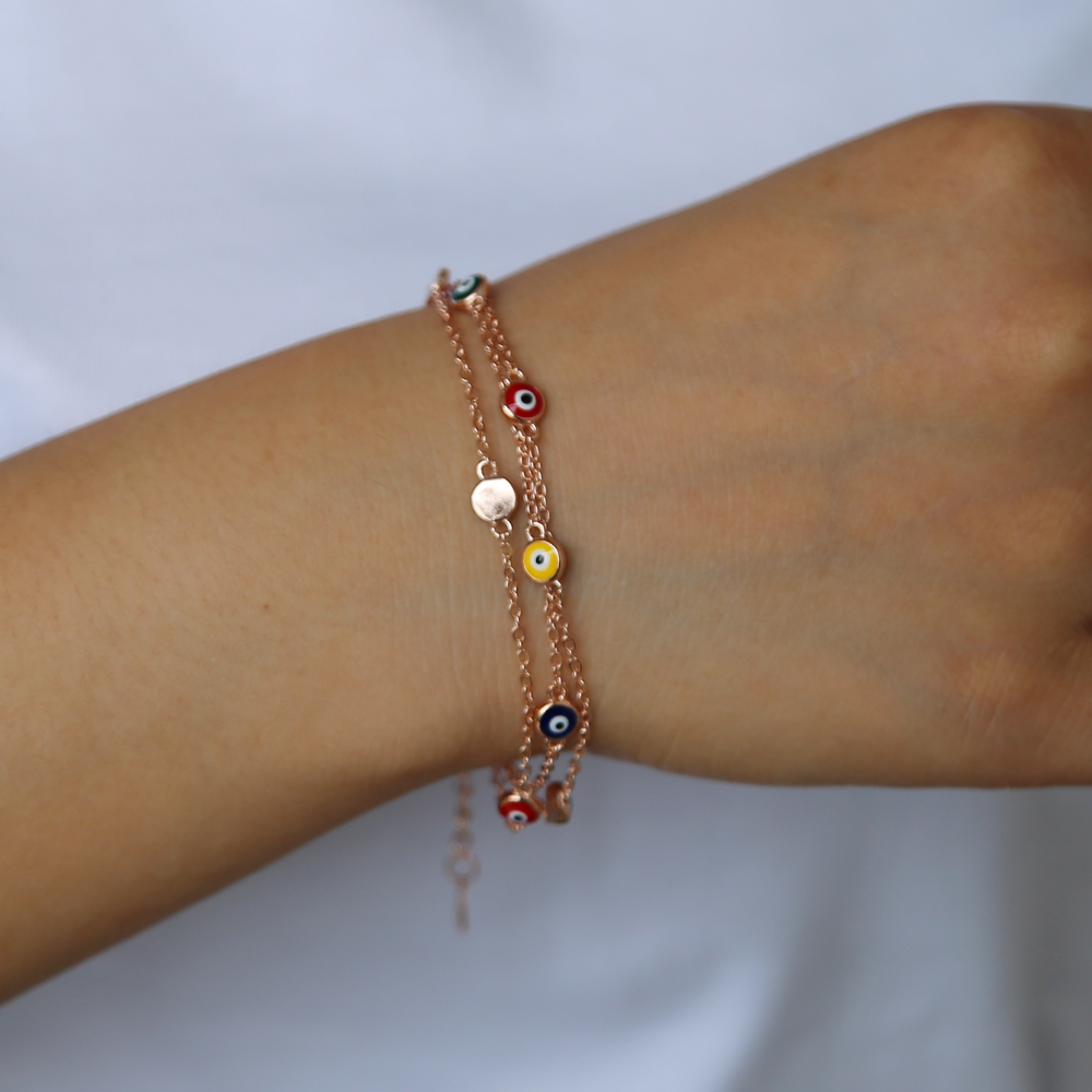 rose gold color bangle bracelet jewelry fashion colorful enamel evil eye charm three link chain multi chain lucky sign jewelry
