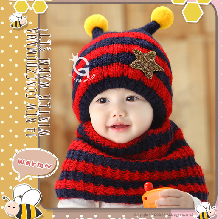 Winter Children's Boy Girl Knitting Hat With Wool And Thick Ear Protection Suit Warm Cap Kids Hat Scarf Set For 0 -3 Years