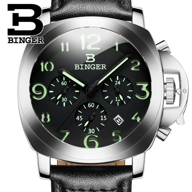 Original BINGER Top brand Panerai Style Quartz Watch with Luminous Chronograph Hour. 1