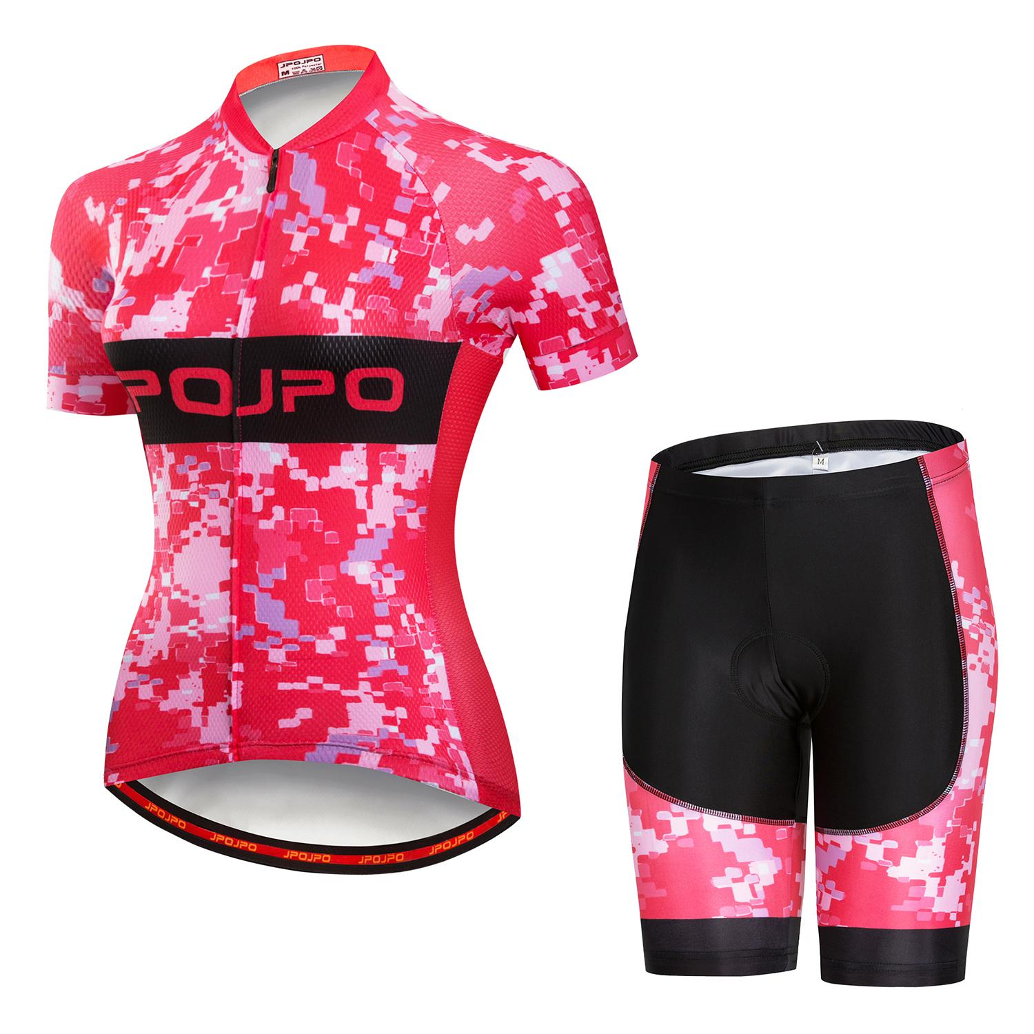 JPOJPO Pink Women Summer quick dry Cycling Jersey Set MTB bicycle Jersey Sets Ropa Ciclismo short sleeve bike Clothes