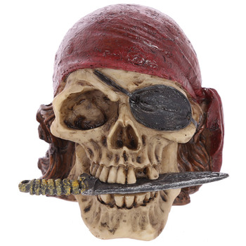 Artificial Stone Skull Caribbean Pirate Captian In Tricorn Hat Looting Skull Skeleton Gothic Ornament Figurine Skull Decoration 1