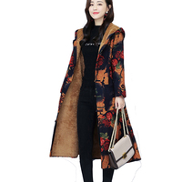 Warm Add Velvet Coat Winter Women long sleeve Cotton Lienen Print Hooded Trench Outwear Female slim Autumn Long casual Trench