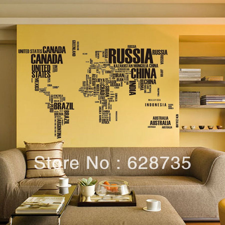 Free Shipping Creative Words World Map Removable Living Room ...