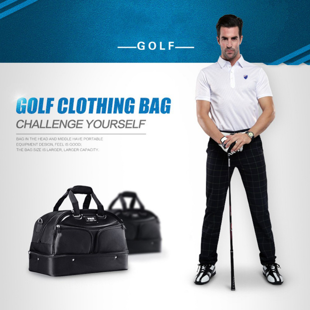 2018 Brand Golf Clothing Bag Men Black Shoes Package Bags Large Capacity Double-deck Clothes Bag brand polo golf clothing bag shoes bag storage clothing bag travel tote bag anti friction pu high density nylon
