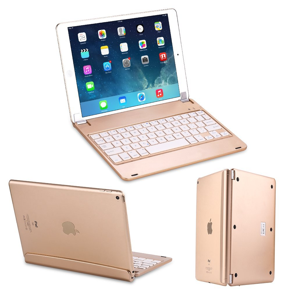 Slim Smart ABS 135 Degree Swivel Rotation Wireless Bluetooth Keyboard Case Cover With Stand Groove For iPad Air 2 iPad 6 Pro 9.7