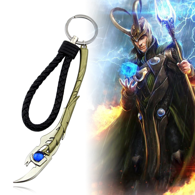 Hot Marvel Avengers 4 Loki Chitauri Scepter Weapon Keychains Thor Stormbreaker Mjolnir Iron Man Keyring Thanos Choker Jewelry in Key Chains from Jewelry Accessories