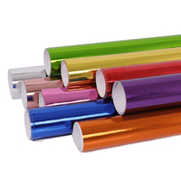 Multi color Car Styling Stretchable Chrome Wrap Vinyl Water Resistant Film Air Bubble Free Self Adhesive Sticker Foils 1.52x5m