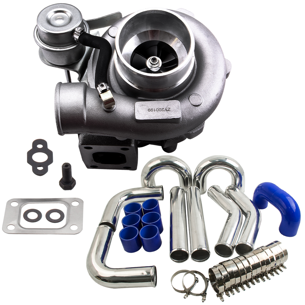 GT2871 Turbine refroidie à l'eau et à l'huile A/R 0.64 Turbo universel pour moteur 1.8L-3.0L pinces t-bolt pouces tuyau Intercooler 3 76mm