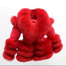 ; с фабрики; зимняя детская куртка-пуховик с большим воротником; популярное пуховое пальто с отделкой из лисьего меха