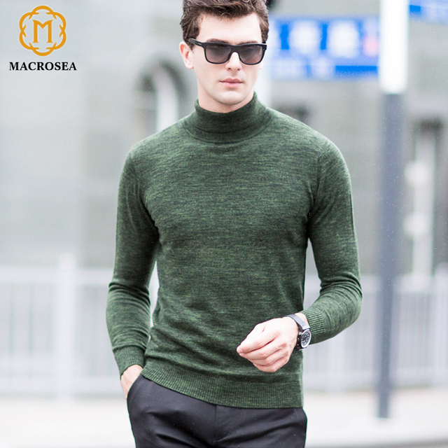 67e3218ad65d MACROSEA New Arrival 100% Merino Wool Casual Turtleneck Sweaters Men  Knitting Jacquard Wool Pullover Fashion
