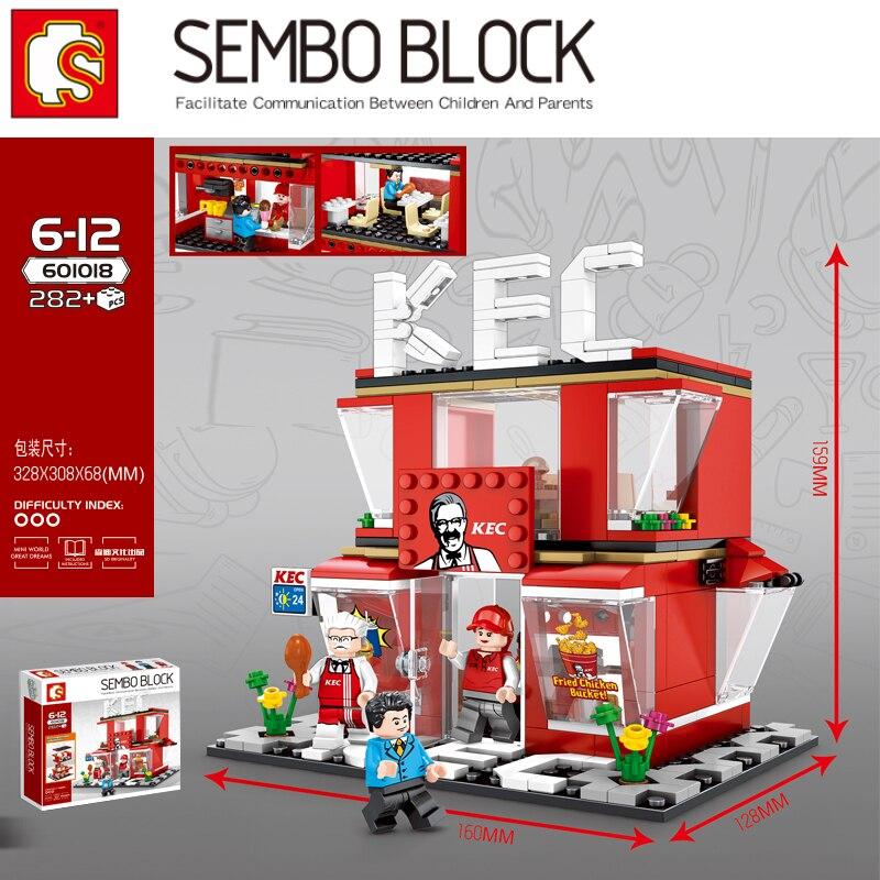 Gebratenes Huhn Geschäft Fast-food-restaurant Streets Serie Bausteine Bricks Kompatibel Legoinset Modell Spielzeug Sembo 601018