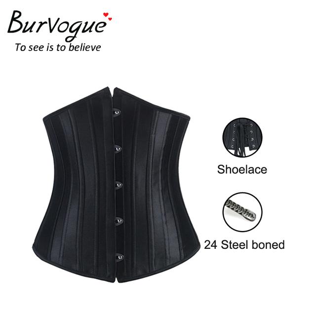 Burvogue mujer cinturilla control de underbust de la cintura corsés y bustiers de corsé sexy negro satinado de acero del hueso corset faja