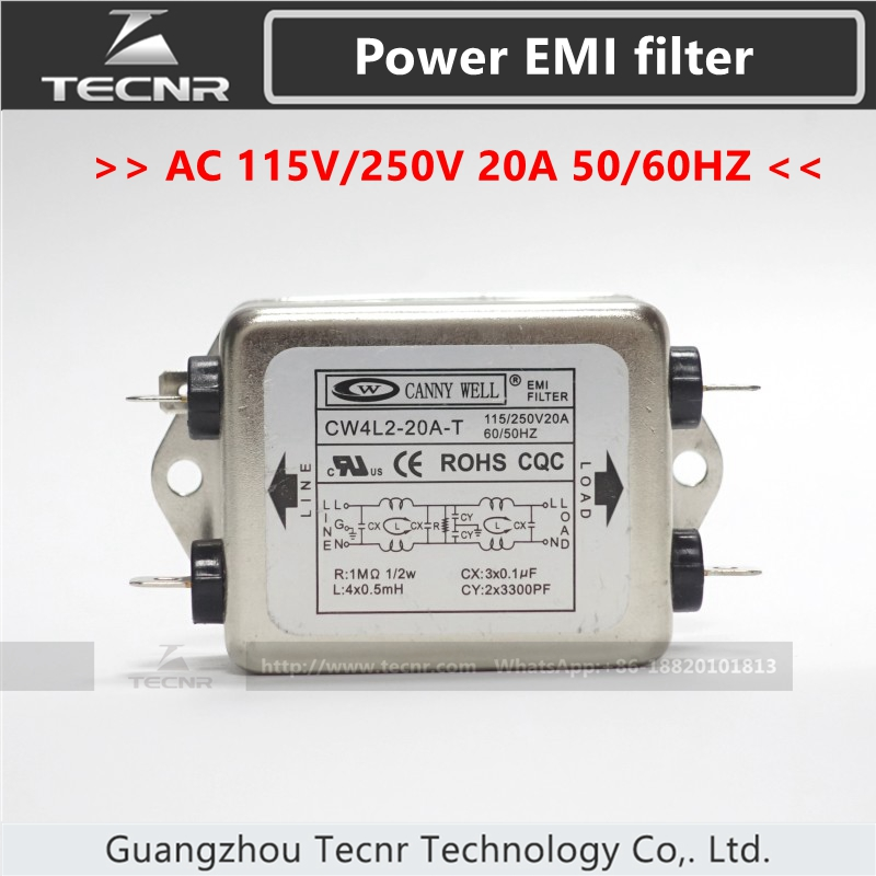 CANNY WELL CW4L2-20A-T CW4L2-10A-T Single Phase Power EMI Filter AC 115V/250V 10A 20A 50/60HZ Double-section Power Filter