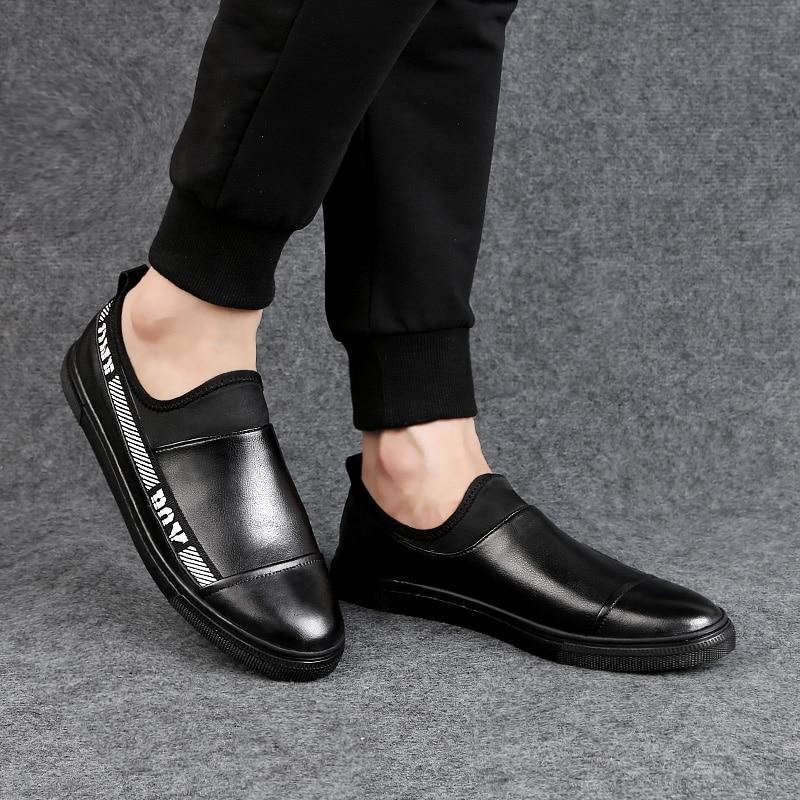 Plate La Hommes Chaussures Sur En De Printemps Véritable Glissent Noir Taille Mocassins Automne Pour Grande Homme 2018 Cuir Confortable Black Occasionnels forme pUvBdBx