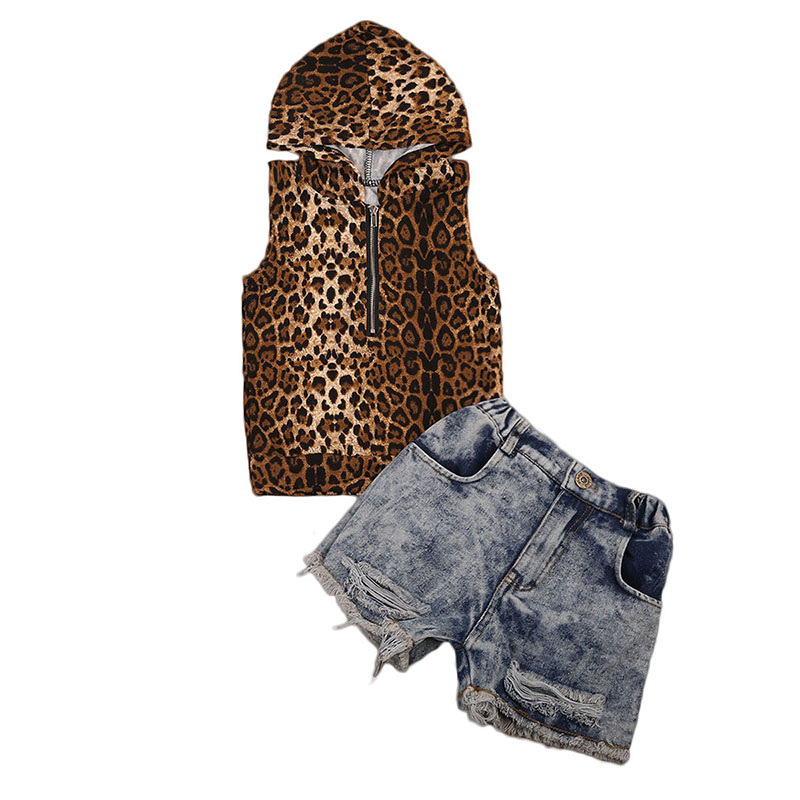 1-7Y Toddler Kids Clothes 2017 Fashion Children Girls Leopard Hooded Vest T-shirt Tops+Hole Jean Denim Shorts 2PCS Clothing Set 2017 new fashion kids clothes off shoulder camo crop tops hole jean denim pant 2pcs outfit summer suit children clothing set
