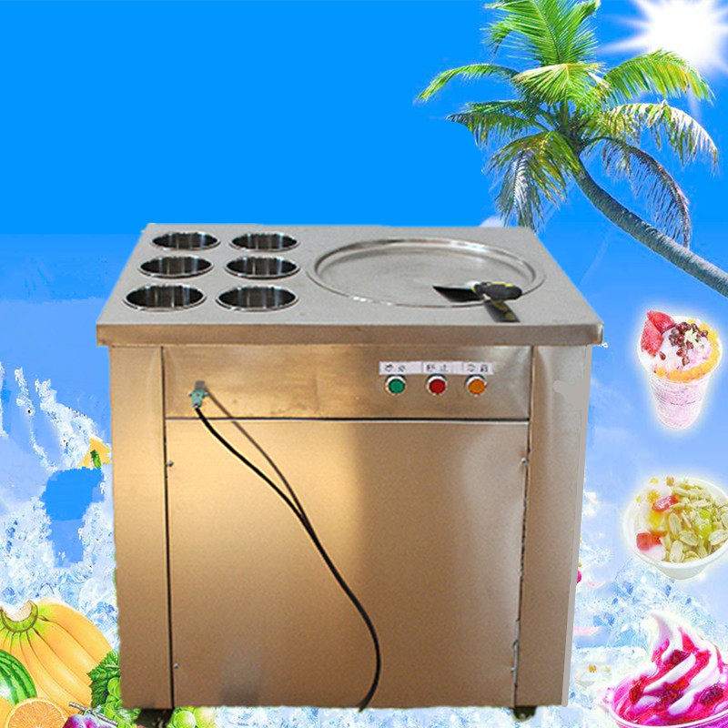free shipping one pan and six buckets  fried ice cream roll machine  freezing ice cream machine frying ice cream machine free shipping big pan 50cm round pan roll machine automatic fried ice cream rolling rolled machine frying soft ice cream make