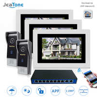 7'' WIFI IP Video Door Phone Intercom Door Bell Speaker Access Control System Touch Screen Motion Detection 2 Doors 3 Apartments