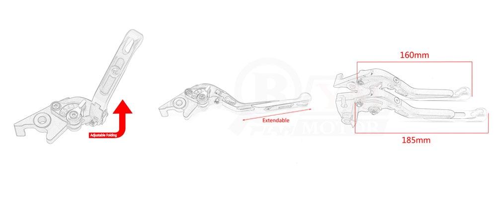 For YAMAHA MT-09 MT09 Tracer 2014-2016 Motorcycle Adjustable Folding Extendable Brake Clutch Levers logo MT-09 Black+Blue