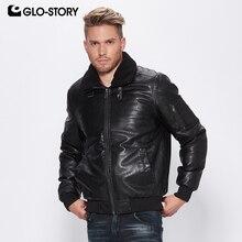 GLO-STORY Для мужчин 2018 Новая Зимняя Теплая стеганая куртка из искусственной кожи для мальчиков отложной меховой воротник из искусственной кожи пальто MPY-6513 6514