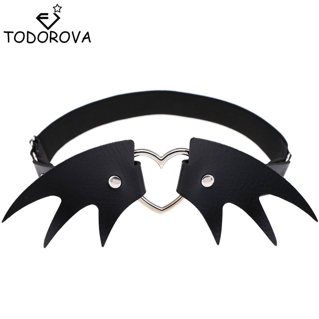 Todorova Halloween Angel Wings Leather Garter Choker Necklaces Punk Heart Harness Leg Thigh Belt Rock Metal Gothic Body Jewelry image