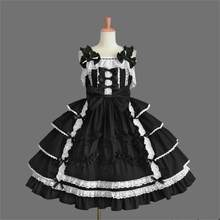 Black White Cotton Sleeveless Knee-length Gothic Lolita Dress School Uniform Dresses Halloween Cosplay Lovely Layered Dress(China)