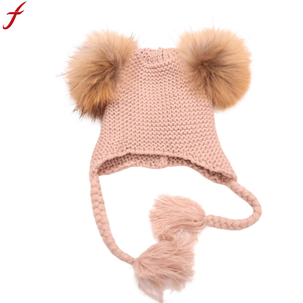 Obliging 2018 Autumn Pompom Hat Beanies For Children Baggy Warm Crochet Winter Wool Knit Beanie Skull Slouchy Twist Hat Bonnet Enfant Girl's Accessories Apparel Accessories
