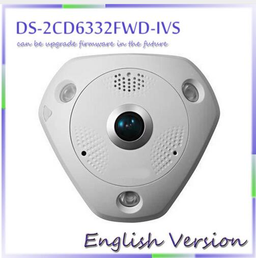 fast free shipping DS-2CD6332FWD-IVS 3MP Full HD 1080P PoE WDR  360 Degree Fisheye e-PTZ Dome Network IP Camera Micro SD Memory fast p