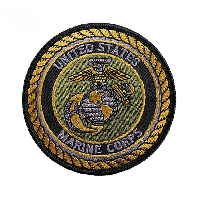 Online Shop Embroidered Usmc Badge Hookloop Usa Marine Corps Emblem