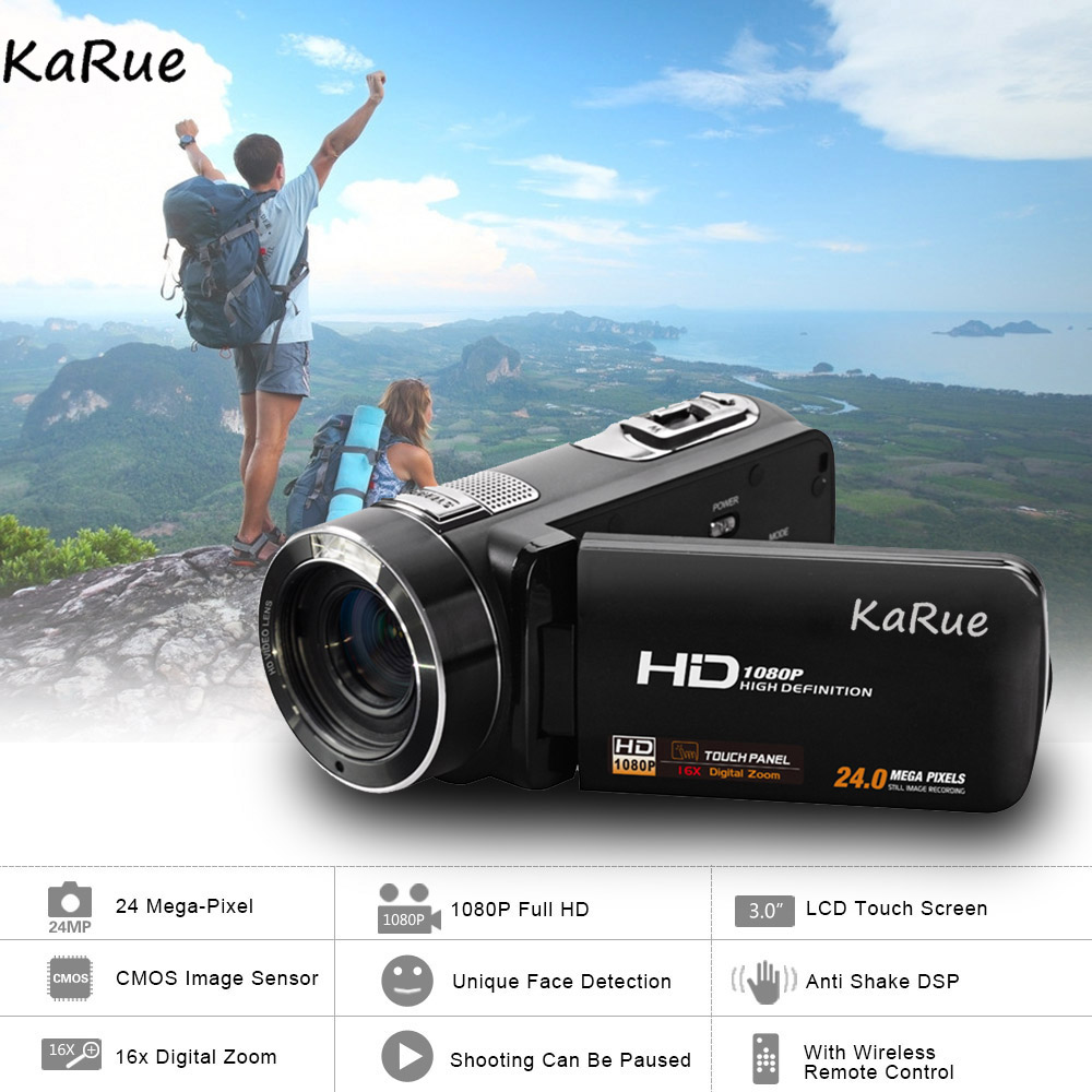 Karue HDV-Z8 1080P HD Digital Video Camera Camcorder 24MP 16x Digital Zoom with Digital Rotation LCD Touch Screen Camcorder
