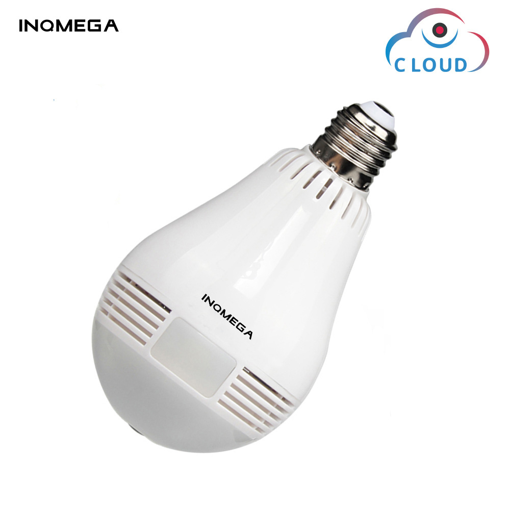 INQMEGA 960P Cloud Wireless IP Camera Bulb Light Panoramic Home Security Surveillance 360 Degree 3D VR