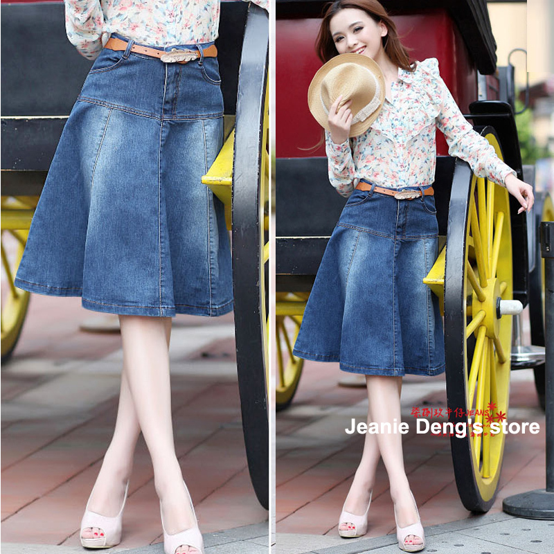 High Quality Knee Length Denim Skirts for Women-Buy Cheap Knee ...