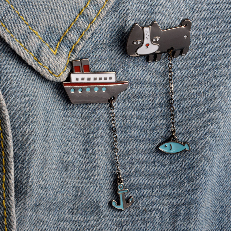 Cute-Cartoon-Cat-Kitten-Fish-Sailing-Boat-Metal-Brooch-Pins-with-Chain-DIY-Button-Pin-Denim