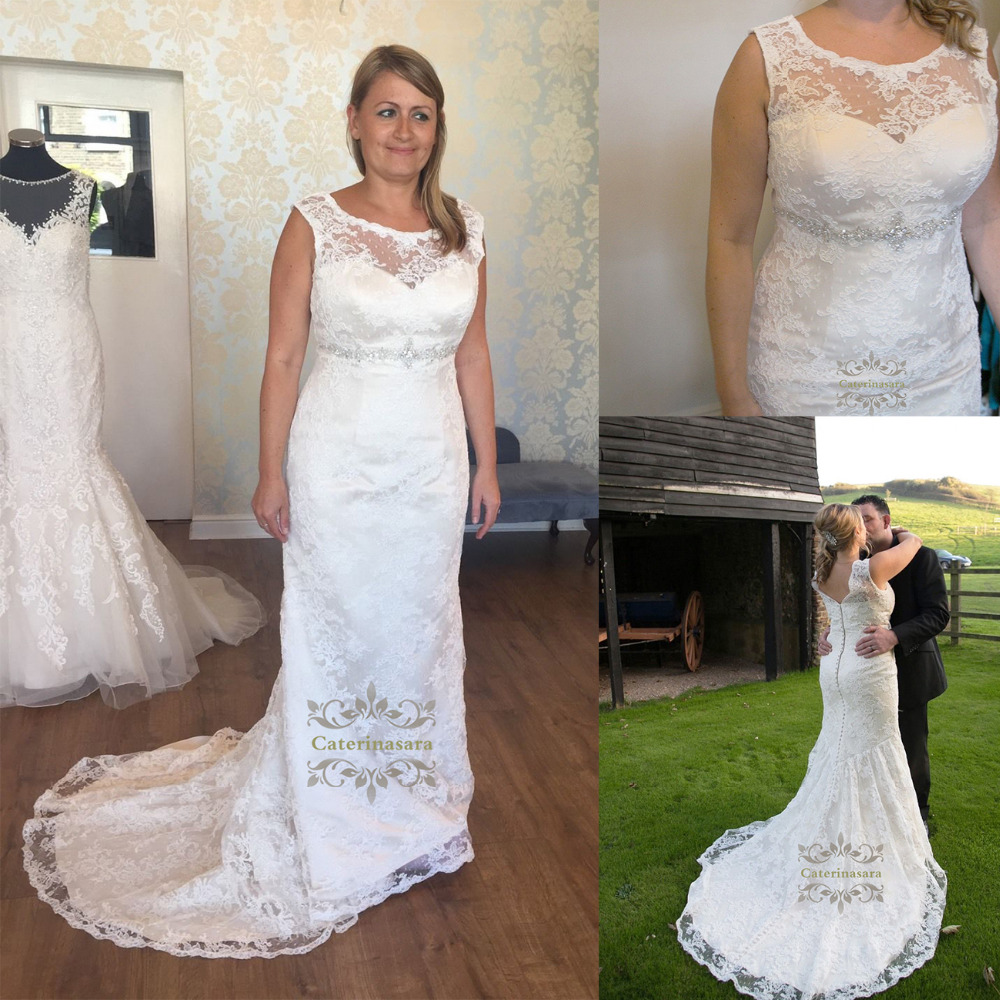 Mermaid Wedding Dresses Illusion Scoop Neck Bride Gowns With Crystals Beadings Sashes For Girls Womens Bridal Party Plus Size