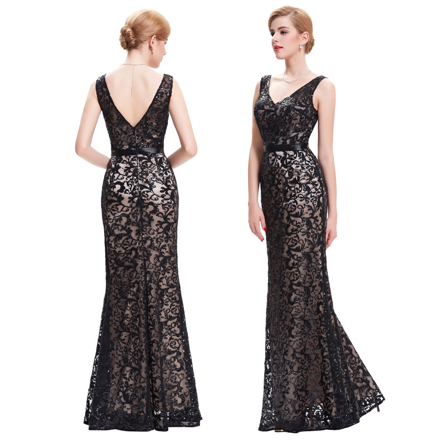 Long Evening Dress Kate Kasin Double V Neck Beaded Evening Gowns Lace Mother of the Bride Dresses Black Formal Prom Dress 0034 6