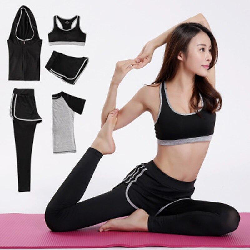 Nouveau Yoga Costumes Femmes Gym Fitness Vêtements Courir Survêtement Sport Soutien-Gorge + Sport Leggings + Yoga Shorts + Top 5 -pièces Ensemble Plus La Taille M-XXL
