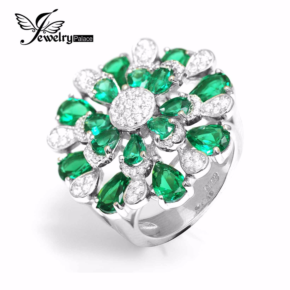 cut genuine emerald created rng finish diamond ring gold real yellow royal