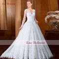 2016 New Lace Long Sleeves Wedding Dress White Princess Ball Gown Bridal Dresses Elegant Appliques Church Castle Bridal Gown