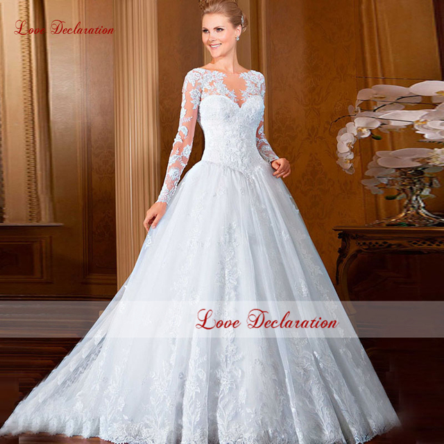 Aliexpress.com : Buy 2016 New Lace Long Sleeves Wedding Dress ...