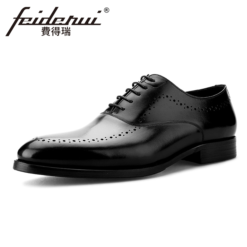 Luxury Genuine Leather Men's Breathable Oxfords Formal Dress Round Toe Lace-up Male Handmade Flats Designer Bridal Shoes BQL18 mycolen men leather shoes breathable lace up flats patent leather male dress shoes blue oxfords shoes zapatos de boda hombre