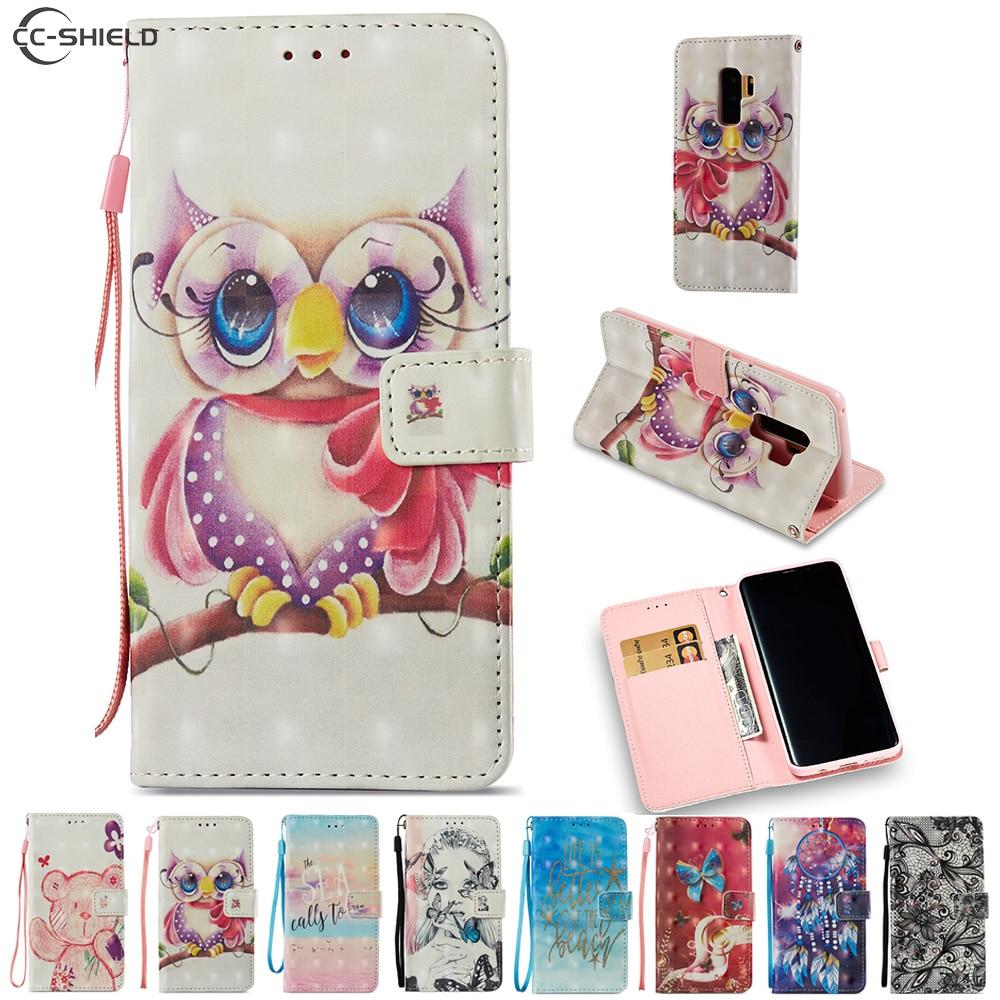 Cartoon Case for Samsung Galaxy S9 Plus G965F G965F/DS SM-G965F SM-G965F/DS Cute Bear Owl Cartoon PU Leather Flip Stand Cover