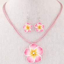 New Fashion Hawaii Plumeria Flowers Jewelry Sets Polymer Clay Earrings Necklace Pendant(China)