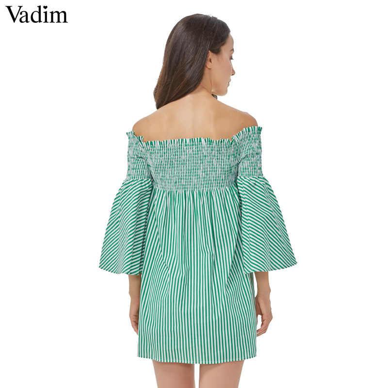 Vadim נשים סקסי כבוי כתף פסים שמלת סלאש צוואר flare שרוול קפלים גבירותיי מקרית מותג מיני שמלות vestidos QZ3100