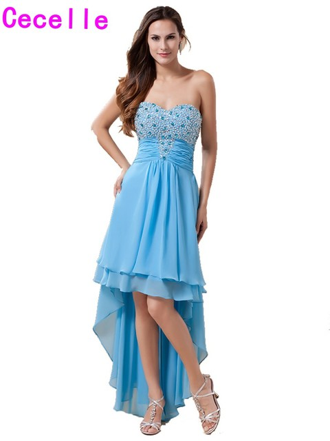 Blau High Low Chiffon Homecoming Kleider Schatz wulstige Kristall ...